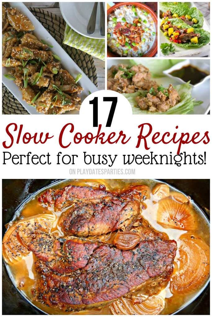 "Super easy slow cooker dinner recipes for the busiest weeknights! Chicken, beef and pork recipes that will shake up your meal plan, and that the kids will like too! As one reader said ""It's obvious only the BEST recipes were included!"" #crockpot #crockpotrecipes #easydinner #slowcooker #slowcookerrecipes #recipes #comfortfood"