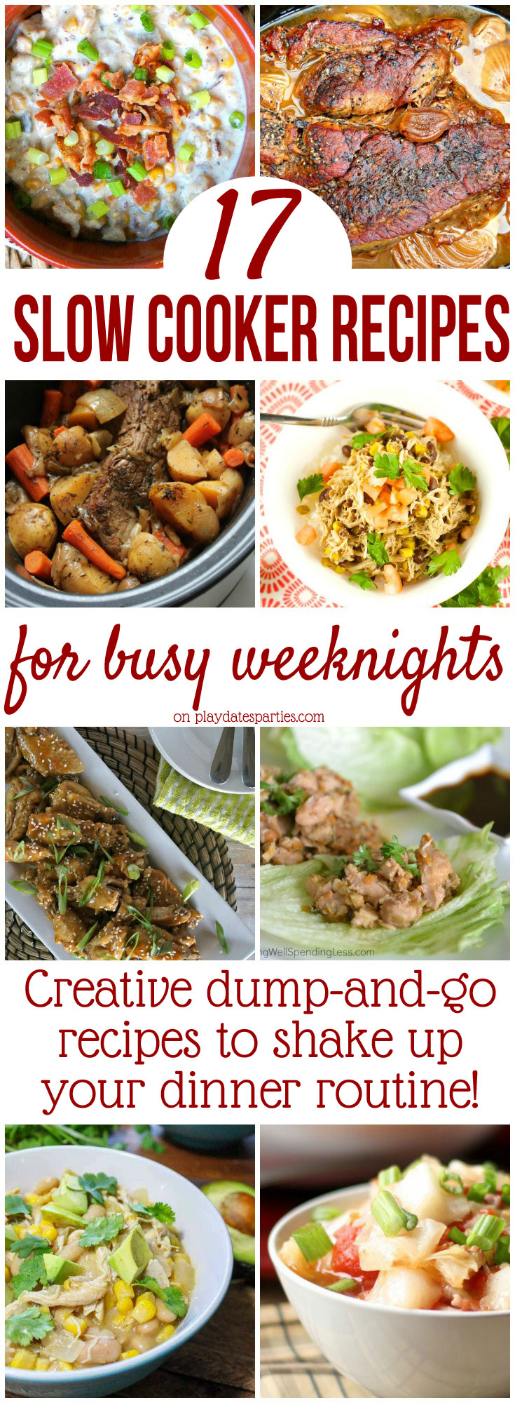 Slow cooker #recipes are one of the best ways to take the stress out of busy weeknights. But they don't have to be boring, either! These 17 crockpot recipes are easy to make and will add great variety to your weekly meal plan!