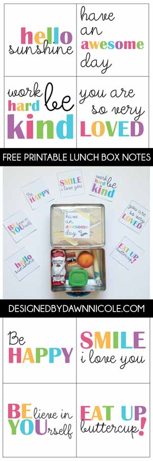 Colorful Lunch Box Notes from By Dawn Nicole