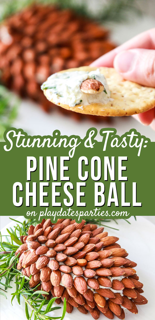 Want an easy but stunning holiday appetizer for your Christmas buffet? Make a pine cone cheese ball! This flavorful cream cheese dip is covered with almonds and garnished with fresh rosemary to look just like a giant pine cone. It's a great make ahead recipe for holiday parties! #Appetizer #Cheese #EasyRecipes #EasyHolidayRecipes #CheeseBall #PartyAppetizer #Holidays #ChristmasRecipes #PineCone