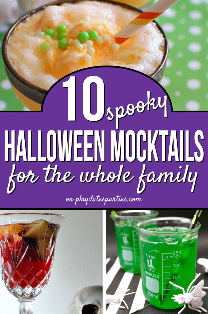Here are 10 perfectly spooky Halloween mocktails to make for kids and everyone else in the family! In all Halloween shades of red, green, orange, and even glow-in-dark (!), these easy nonalcoholic punch and drink recipes are fantastic for a family get together or party! #halloween #halloweenfood ##mocktail #nonalcoholic #recipe #partyrecipes #drinks