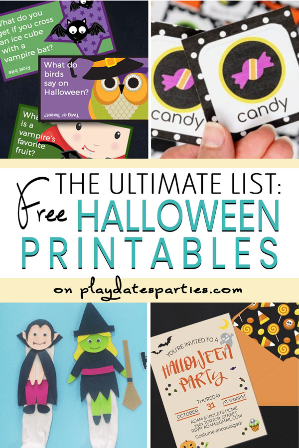 collage of printables with the text the ultimate list free Halloween printables