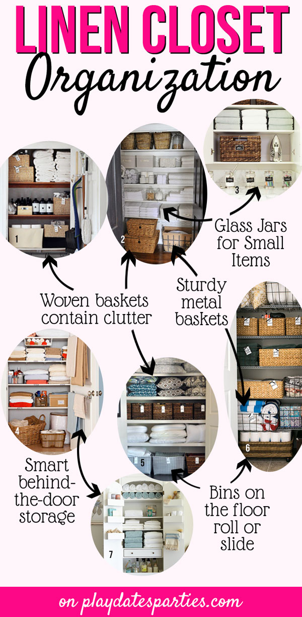 Whether your closet is big or small, you can still have beautiful linen closet organization! Head over to playdatesparties.com to find out how easy it is to recreate the most gorgeous linen closets! #organized #declutter #organizationtips #pdpdecorates