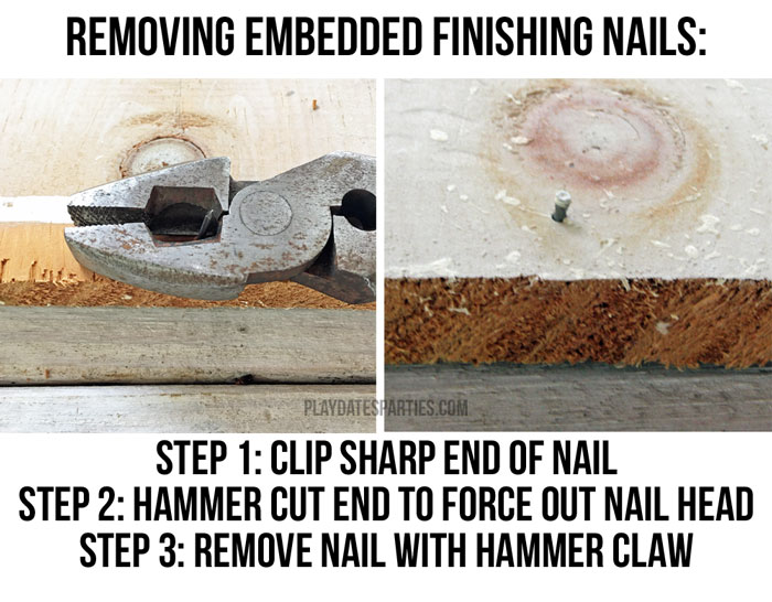 Quick tip for removing embedded nails before using contact paper for shelves.