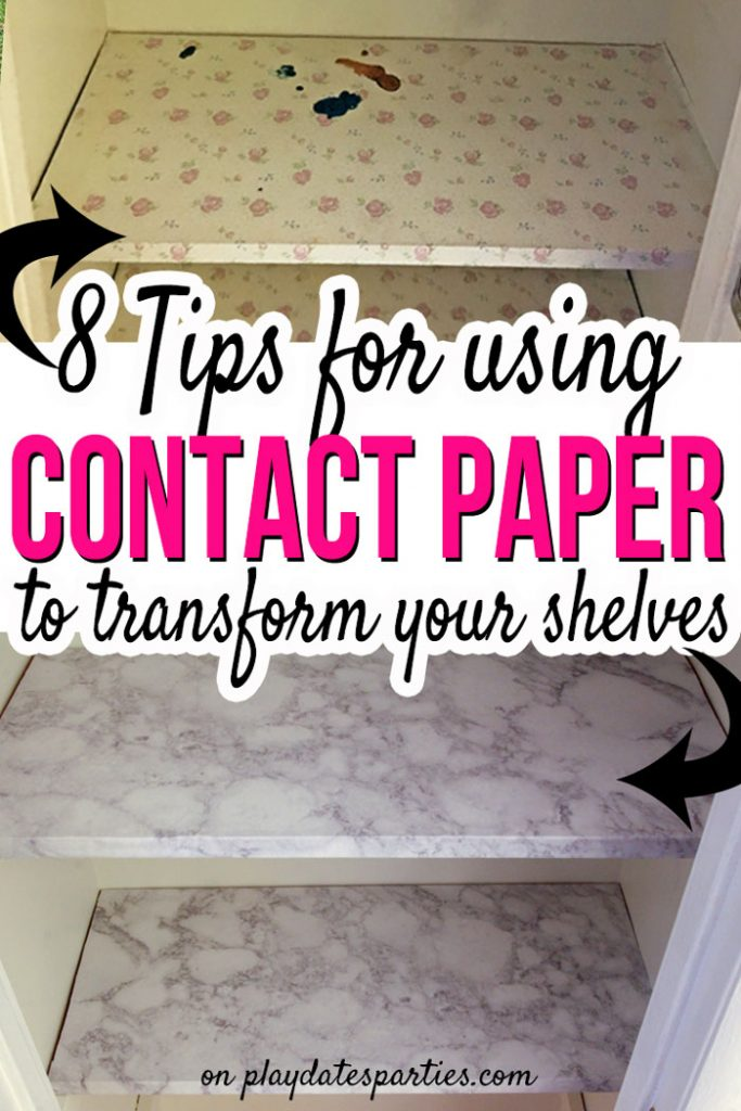 Don't waste time applying contact paper for shelves the wrong way! Head over to playdatesparties.com to get the best tips for making sure your new shelves look great and last a long time!