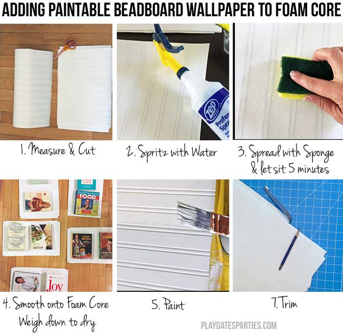 Add paintable headboard wallpaper to foam core to get a reversible shelf backing you can change at any time!