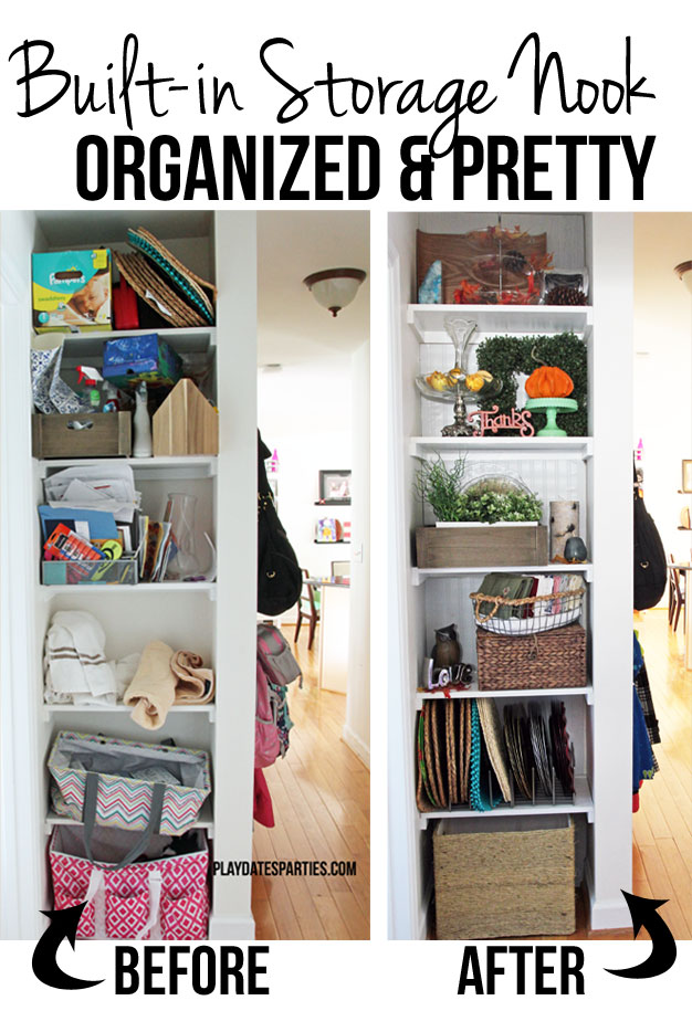 Narrow built-in shelves get a makeover to provide storage that is both functional and pretty.