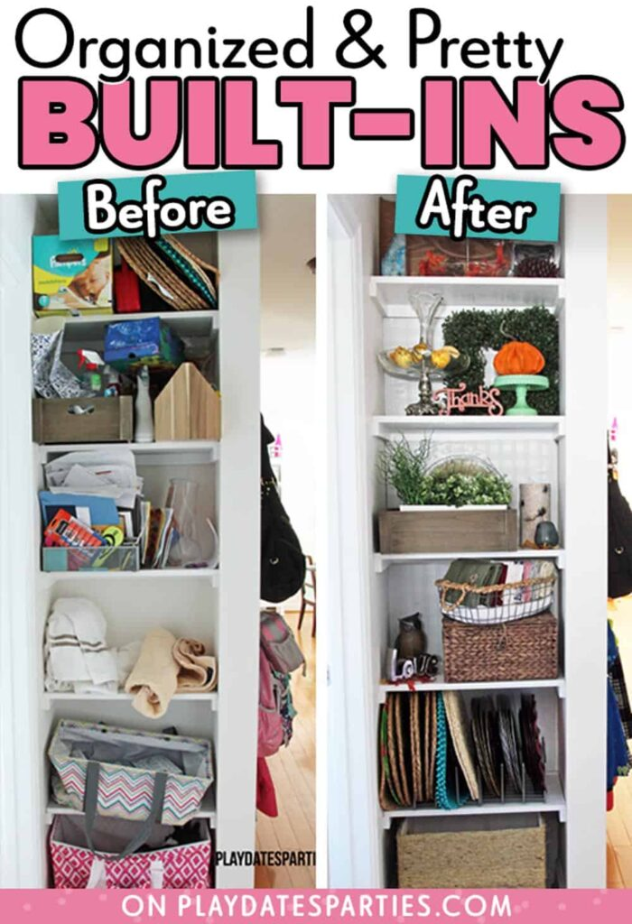before and after of cleared out built in shelves
