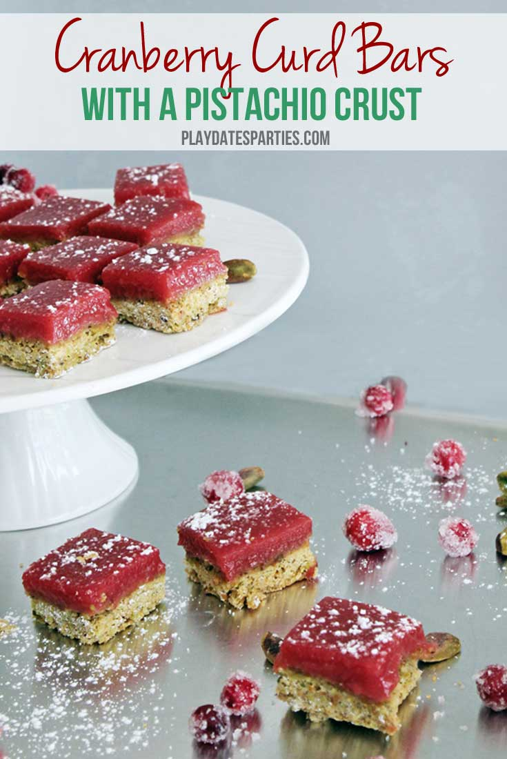"""Better than lemon bars!"" is how one caterer described cranberry curd bars with a pistachio crust. Give your friends and family something to rave about with this amazing sweet and tart holiday dessert recipe."