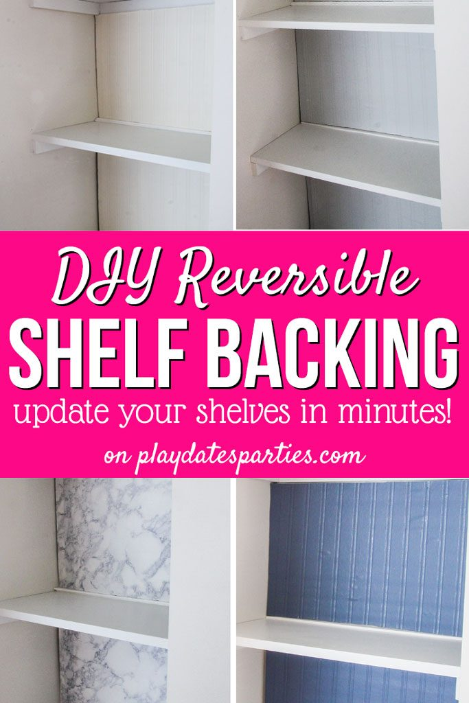 Make a bold statement and makeover your bookshelf decor without ruining them! Using a DIY reversible bookshelf backing you can change the look of your display cases and built-ins in a matter of minutes. Choose paint on one side and wallpaper on the other. Or even give contact paper a try! No matter how many awesome ideas you have, the possibilities are endless. #bookshelf #shelf #creative #DIY #HomeDecor #FrugalDecor #Ideas