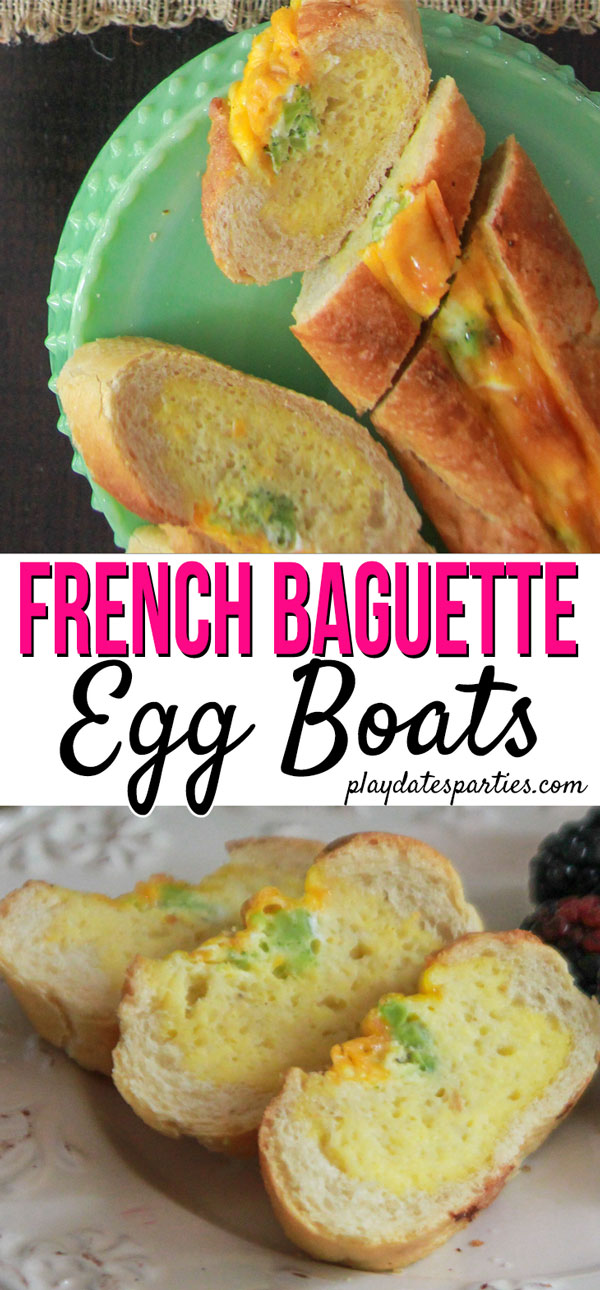 Want an EASY brunch recipe to make for houseguests? French baguette egg boats are a tasty and simple way to feed a crowd without spending the whole morning at the stove. #recipes #brunchrecipes #eggrecipes #pdpcooks
