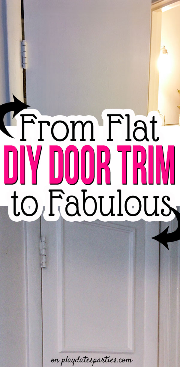 I was almost out of ideas for how to update the last flat interior door in our house. But then I figured out a simple hack to add interior door trim in a single afternoon (and without any special tools!) #DIY #interiors #interiordesign #ikeahacks  #pdpdecorates