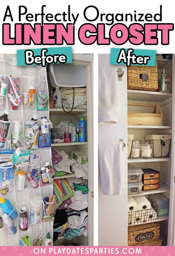 before and after of a cleaned out and organized linen closet