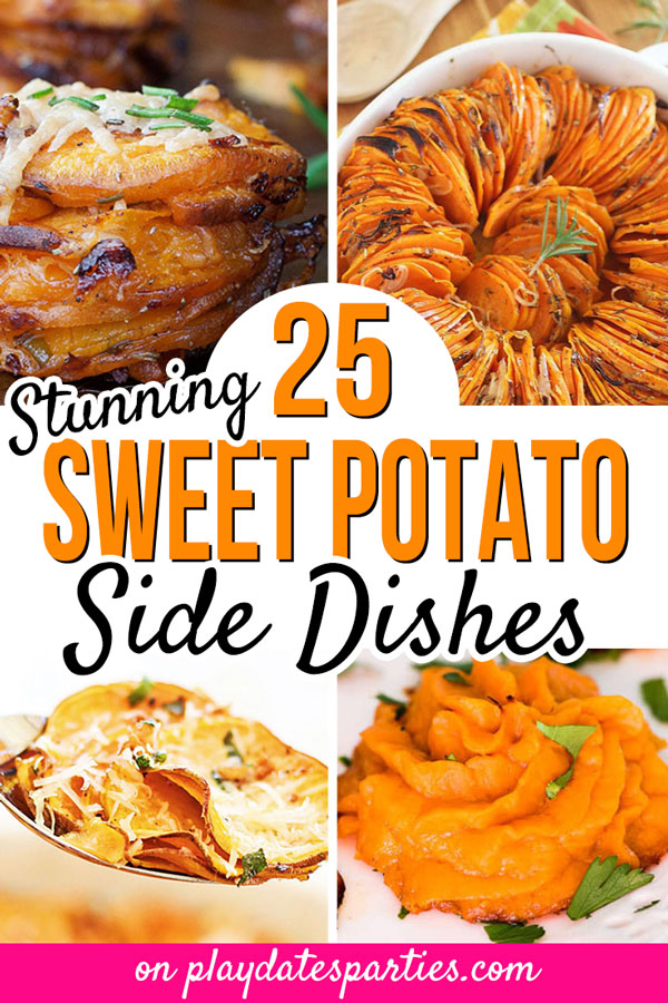 Want to make some unique sweet potato dishes for Thanksgiving dinner this year? Whether you're looking for baked and mashed sweet potatoes, healthy ideas, an easy casserole, make-ahead recipes, or savory roasted sides, this is your ultimate list of sweet potato side dishes that look and taste amazing. #SweetPotatoes #Thanksgiving #ThanksgivingRecipes #HolidayDinner #PartyFood #EasyRecipes #Recipes #ComfortFood
