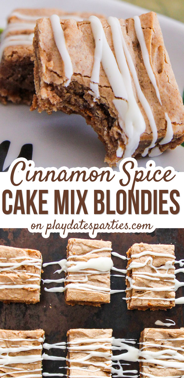 Looking for the best unique Christmas desserts that are easy to make and perfect for a crowd? Then you have to try this cinnamon spice cake mix blondies recipe with eggnog glaze. Perfectly chewy, full of flavor, and so incredibly simple to make, these are totally addictive. Bring these treats to a party and everyone will be raving! #holidays #ChristmasRecipes  #holidaysweettreats #christmasparty #easyrecipes #desserts #blondies #eggnog