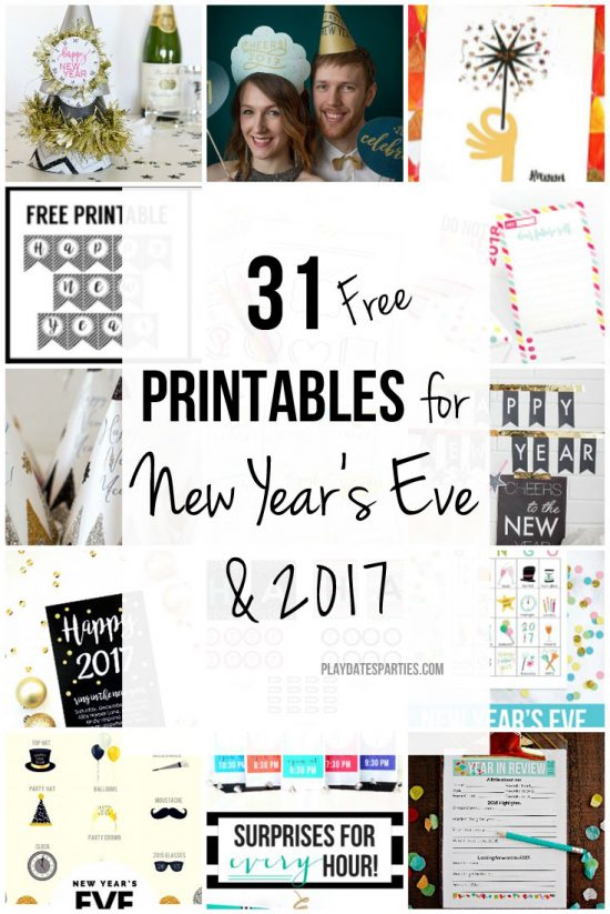 31 Free New Year's Eve Printables and Calendars for 2017