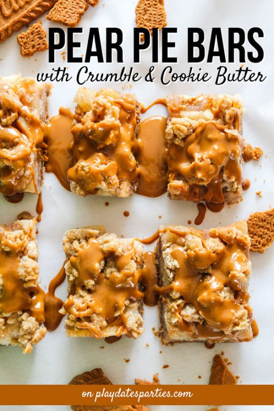 We're always trying to find creative fall desserts for our Thanksgiving spread. And this recipe for pear pie crumble bars with a cookie butter drizzle are an easy and delightful treat for everyone to enjoy. Make your own batch today or for your next party.