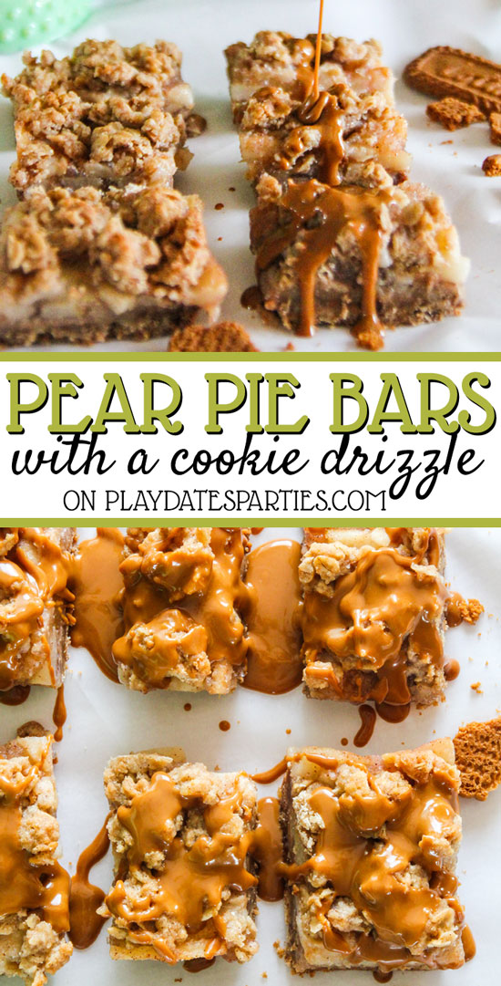 Your guests will love it if you make these pear pie crumble bars with a cookie butter drizzle for Thanksgiving this year. They deceptively simple, and your guests will think you create the most impressive fall desserts! #Baking #Bars #PartyFood #Desserts #ThanksgivingRecipes #ChristmasDesserts #HolidaySweetTreats #HolidayTreats #Autumn