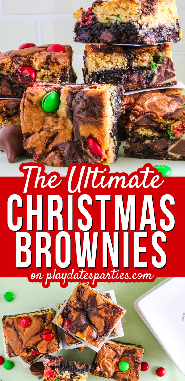 I'm always looking for holiday recipes to make that are both easy and creative. And boy do these double decker triple stuffed Christmas brownies fit the bill. With layers of boxed brownie and cake mix, M&Ms on top and two kinds of chocolate candy inside, they are a fun and unique treat to bring to a party. Everyone from kids, to adults, will love this colorful dessert! #holidays #ChristmasRecipes  #holidaysweettreats #christmasparty #easyrecipes #desserts #brownies #chocolate