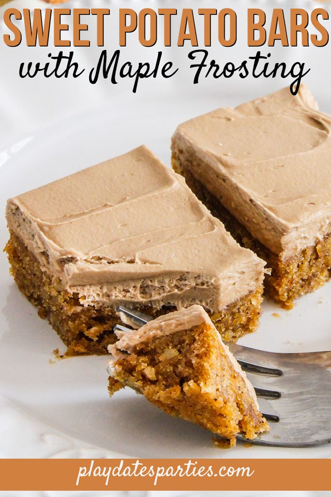 Tired of pumpkin pie for Thanksgiving dessert? Make this sweet potato bars with maple frosting recipe instead. A cross between a cake and a bar, they are a fun and unique treat. Cut them into rectangles for a small group, or into small squares as an impressive bite size dessert for a crowd. #Recipe #SweetPotato #Baking #Thanksgiving #ChristmasDesserts #HolidayFood #HolidayTreats #DessertBars #BakingRecipe