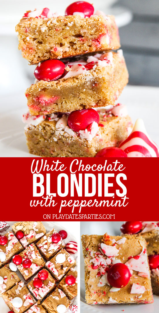Looking for holiday desserts that are easy to make, unique, and both good for kids and for a crowd? Make a batch or two of white chocolate blondies with peppermint. These treats are incredibly dense and chewy, with the perfect amount of peppermint. Hands down, this is the best family friendly, fun, holiday dessert in a single pan. #holidayrecipes #ChristmasDesserts #peppermintrecipes #holidays #holidaytreats #easyholidayrecipes