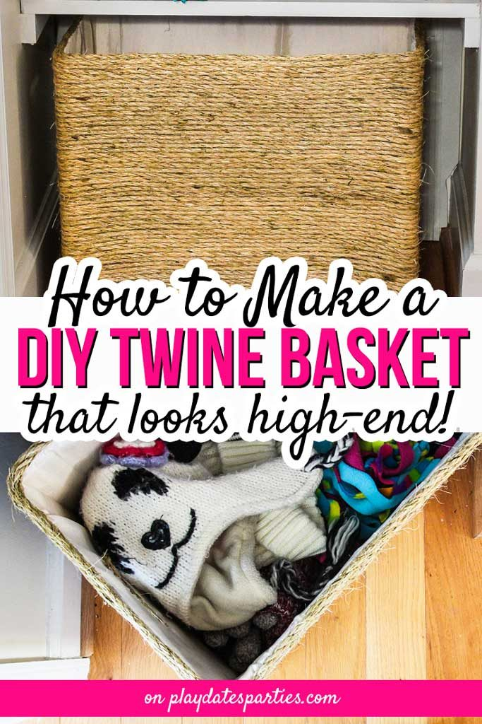This is one of the prettiest (and sturdiest) DIY organization ideas out there. With this awesome DIY rope basket tutorial, learn how to cover a box with fabric and twine to fit any space, like a closet, a bedroom, or other small spaces. When you're done, no one will know that you made this no sew project on a budget. #DIY #diyhomedecor #homedecor #crafts #frugaldecor #tutorial #ideas #projects #baskets #storage #organization