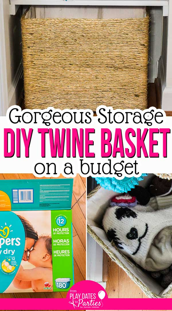 Whether you need large or small storage, you still want it to look nice, right? Learn how to make a high-end looking DIY rope basket in any size, including for how to cover a box with fabric and twine so no one knows that you made it on a budget. Seriously, this is an awesome way to get beautiful organization in small spaces like a closet or a bedroom. #DIY #diyhomedecor #homedecor #crafts #frugaldecor #tutorial #creative #ideas #projects #smallhomedecor #baskets