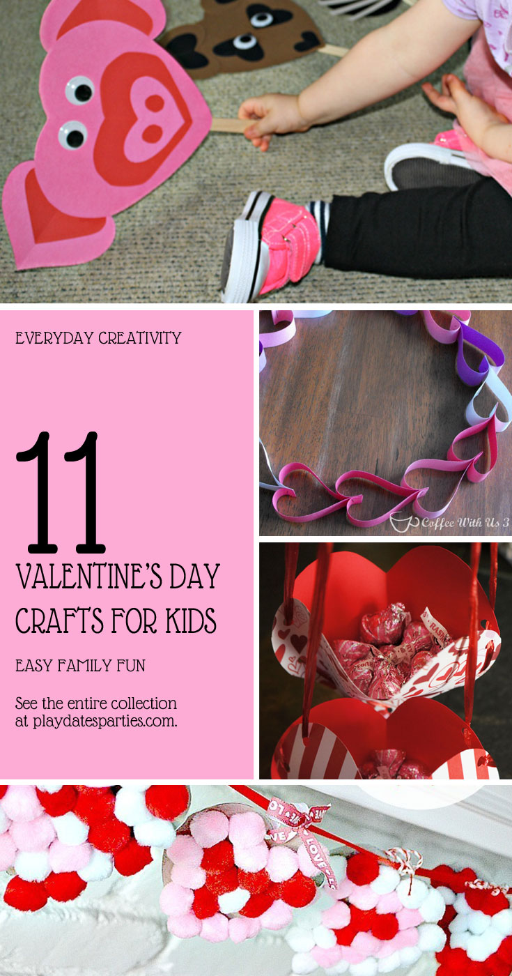 Whether you have toddlers or older kids, you will all have fun with these 11 easy and adorable Valentine's Day crafts for kids! #ValentinesDay #crafts #toddlers #kids