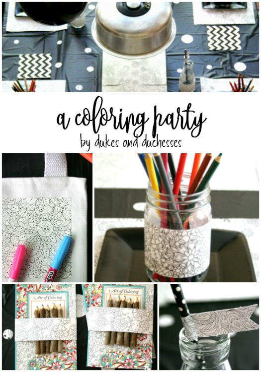 DIY coloring party indoors