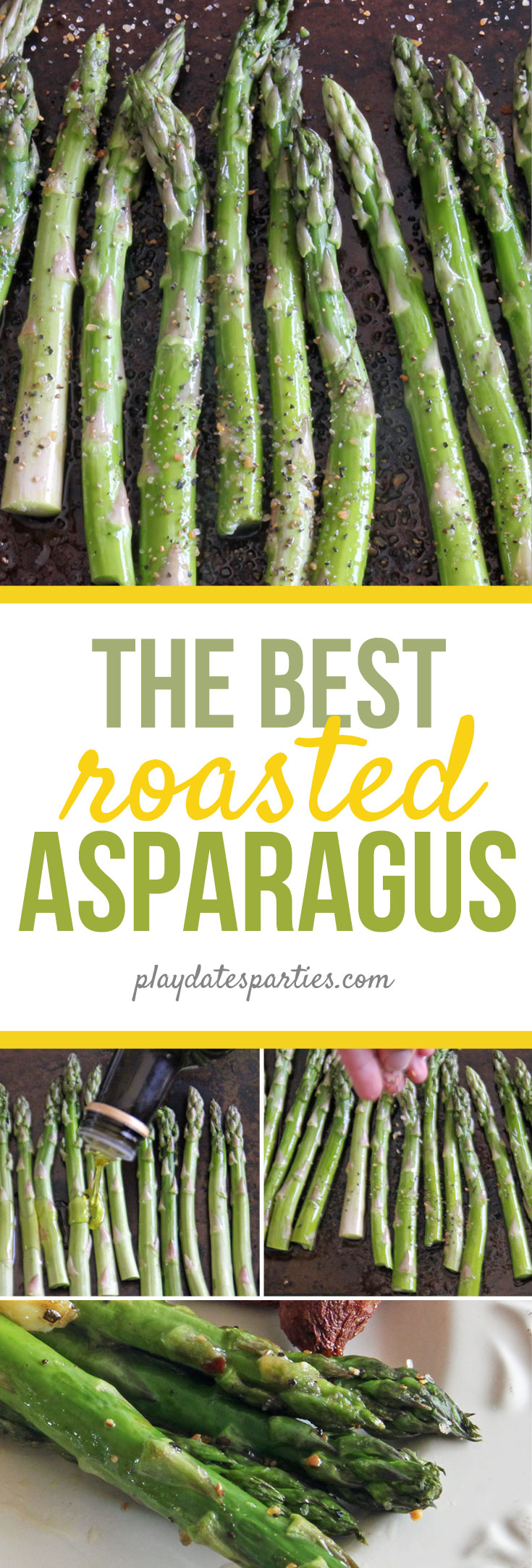 I learned the secret to easy oven roasted asparagus from a caterer. And then put my own spin on it to make it the BEST recipe you can find. Plus, it fits into some of the most popular diets, like vegan, vegetarian, and paleo. #vegetarian #asparagus #dinnerrecipes #lemon #easyrecipes #sidedishes #veganrecipes