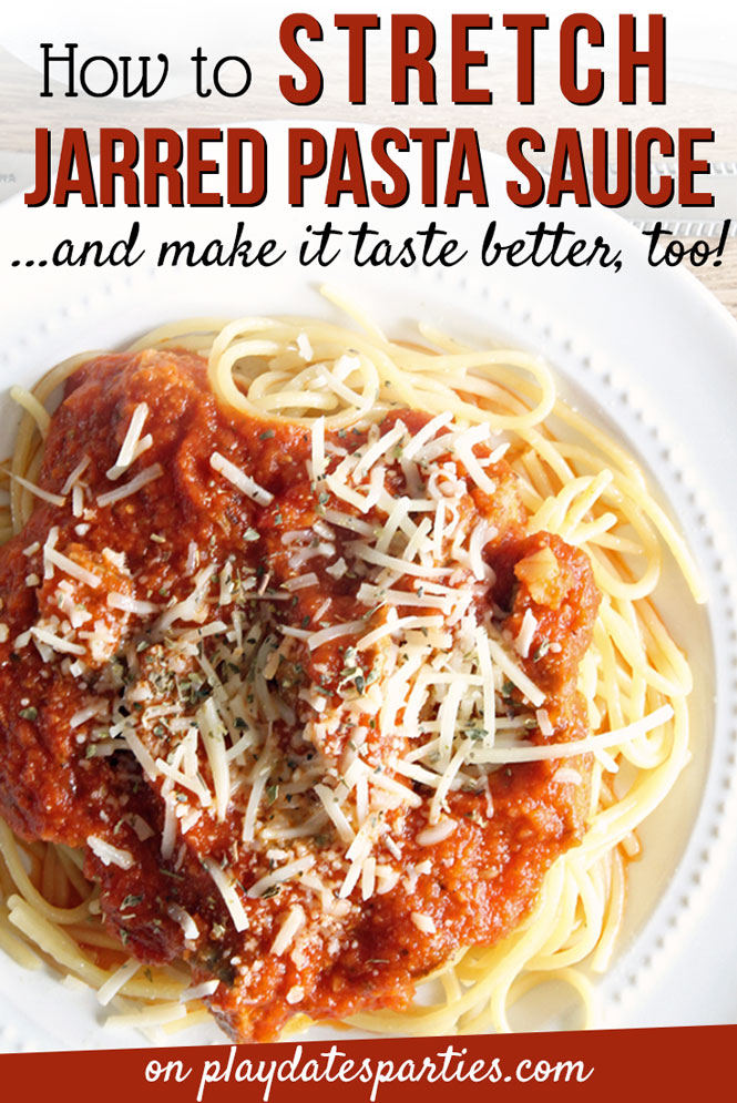 Never get stuck with dry pasta again! Try these six tips to stretch jarred pasta sauce so that it can cover a full pound of pasta...and taste just like it was homemade. #pasta #cookingtips #easyrecipes #pdpcooks