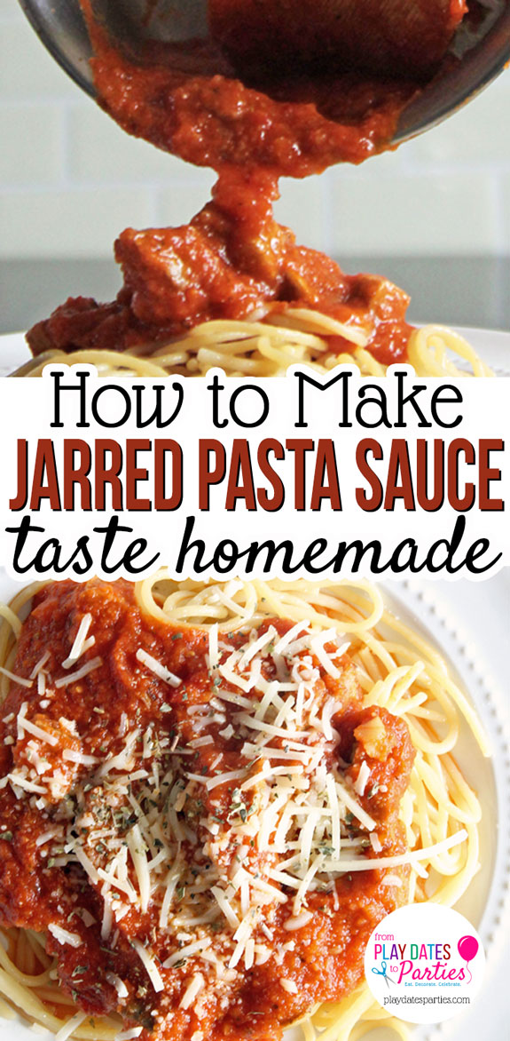Never get stuck with dry pasta again! Head over to playdatesparties.com for 6 tips to stretch jarred pasta sauce AND make it taste just like it was homemade. #pasta #cookingtips #easyrecipes #pdpcooks