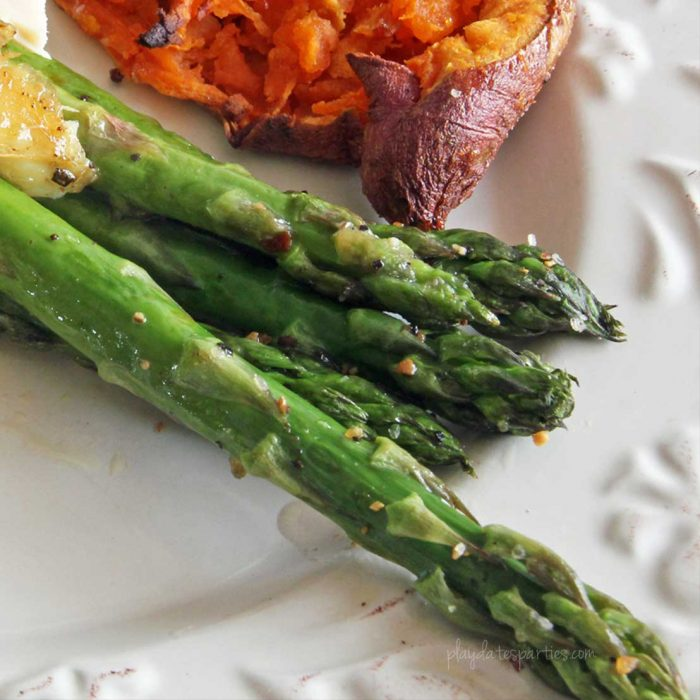 This easy roasted asparagus recipe is about to become a staple in your house. It's always delicious and only takes a few minutes to make.