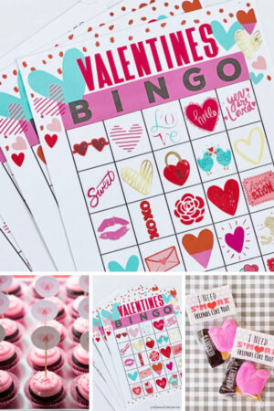 collage of Valentine's Day printables including bingo, cupcake toppers and bag toppers