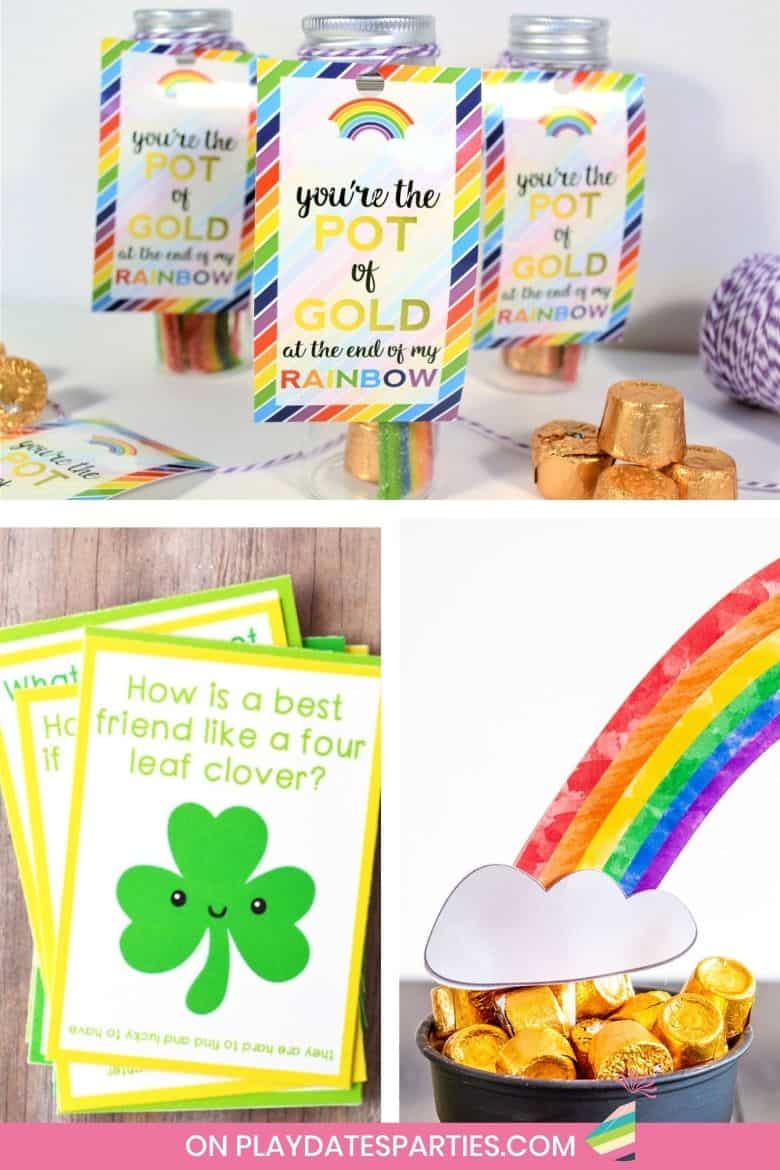 collage of printable games, decor, and gift tags for St. Patrick's Day