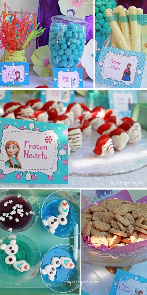 This stunning Frozen luau party is full of easy DIY projects, adorable foods, and simple tips that you can absolutely recreate for a special little girl in your life. Including: an Olaf snow flurry, Olaf jello cups, a fake snow beach, a purple and blue ice cream cake, and lots of snowflakes everywhere!