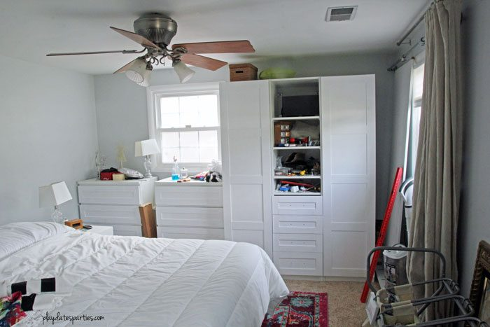 Four weeks into a complete 6-week master bedroom renovation, the big picture start to come together. Details include customized Ikea Pax cabinets, drop cloth curtains, and mid-century modern nightstands. But will it get done in time?