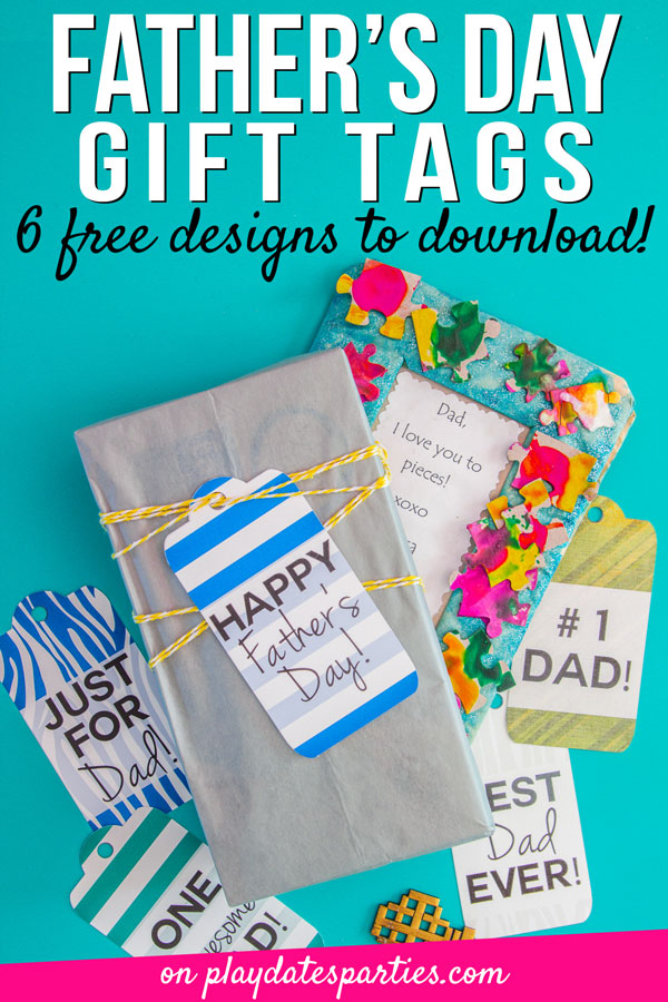 A picture of Father's Day gifts and tags with the text Fathers Day gift tags 6 free designs to download