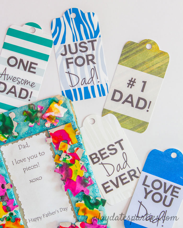 A closeup of a homemade Father's Day gift and printable Father's Day gift tags