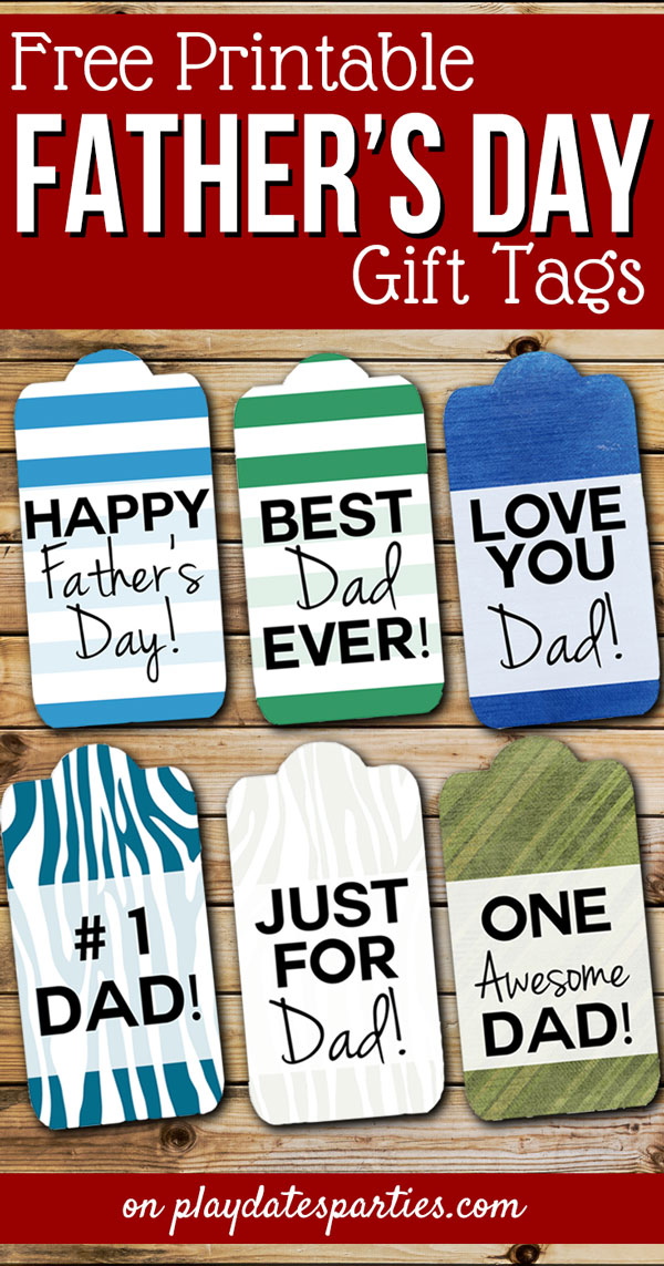 Want to add a special touch to your Father's Day gifts this year? Try adding these FREE printable Father's Day gift tags. Head over to playdatesparties.com to see all 6 designs! #FathersDay #freeprintables #pdpcelebrates