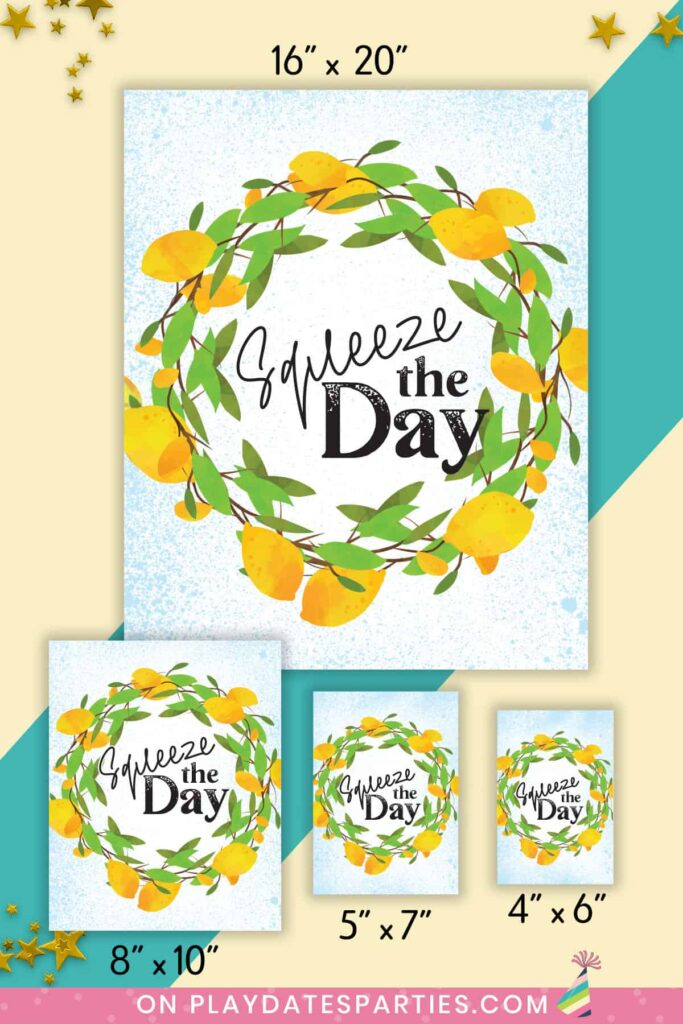 Squeeze the Day lemon art print shown in four sizes against a colorblock background