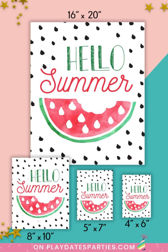 mockup of Hello Summer watermelon art in four sizes