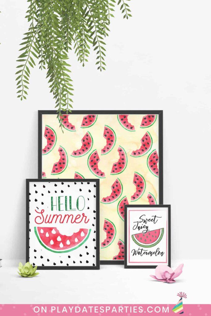 three framed art prints with a watermelon theme