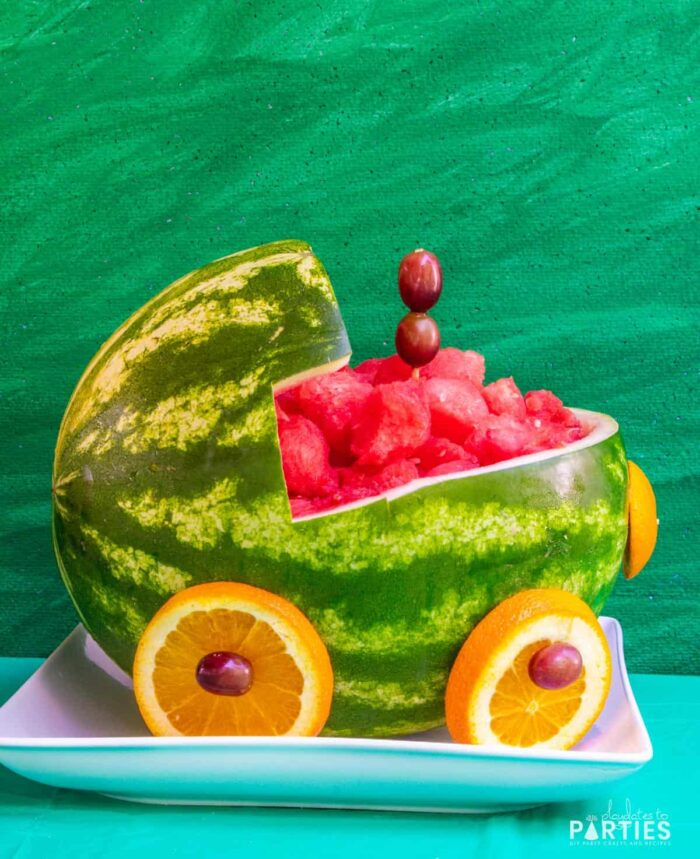 Watermelon carved to look like a train engine