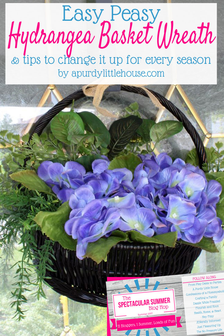 Learn how to change up a basket wreath for every season. it all starts with a fun thrift store find and the perfect summer hydrangea filler. It's a perfect option for small homes with little storage.