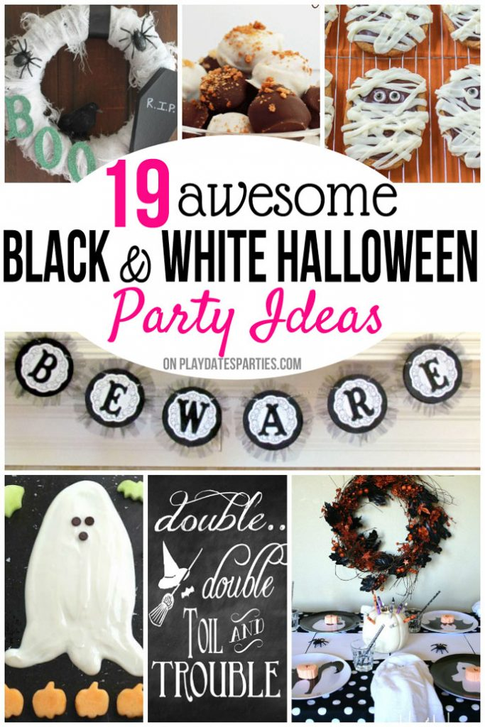 From cutesy-spooky food and treats, to easy DIY decorations and crafts, here's your how-to guide to make one of the best Halloween themes around: a Black and White Halloween party! #halloweendecorations #halloween #blackandwhite #halloweenparty #partyideas #halloweenpartyideas