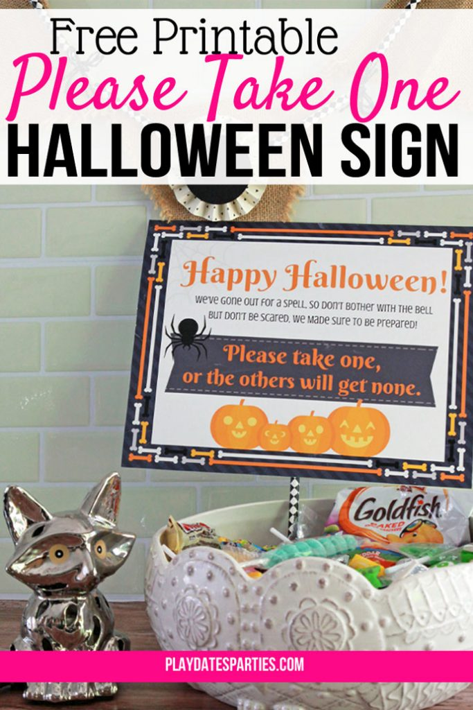 Grab your printable Halloween take one sign and set it out while you trick or treat with your kids. With cute pumpkins and a clever saying, the neighborhood kids will get their candy, and you'll make memories with your whole family. #halloween #halloweendecorations #printable #HalloweenPrintables #Download #freeprintables #pumpkin