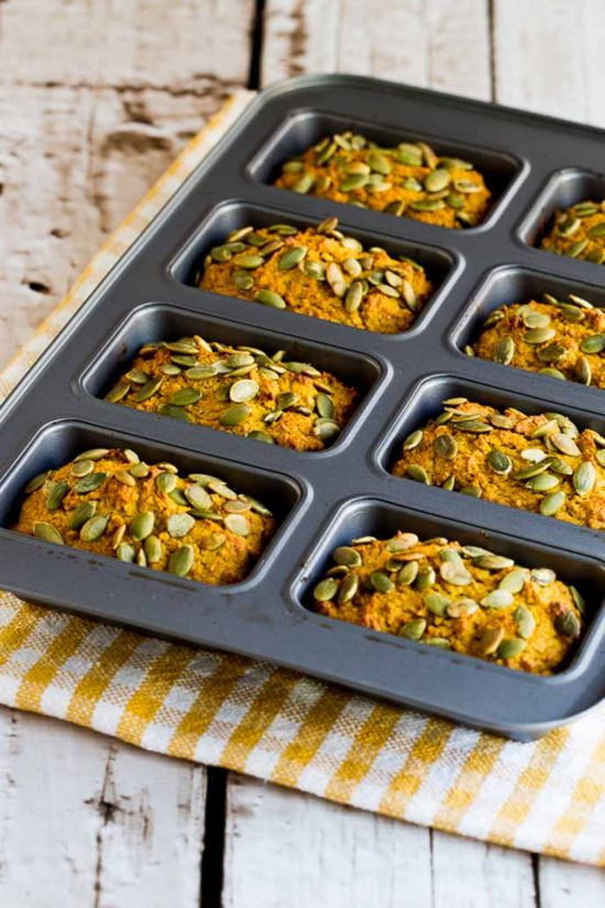 Low Sugar Whole Wheat Pumpkin Mini-Loaves by Kalyns Kitchen