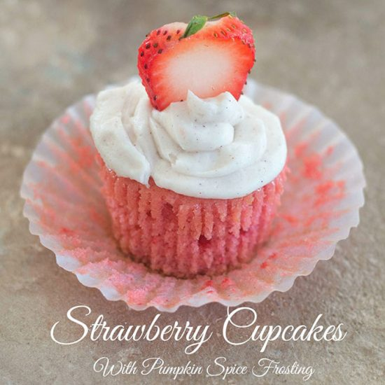 Vegan Strawberry Cupcakes with Pumpkin Spice Frosting by Healing Tomato