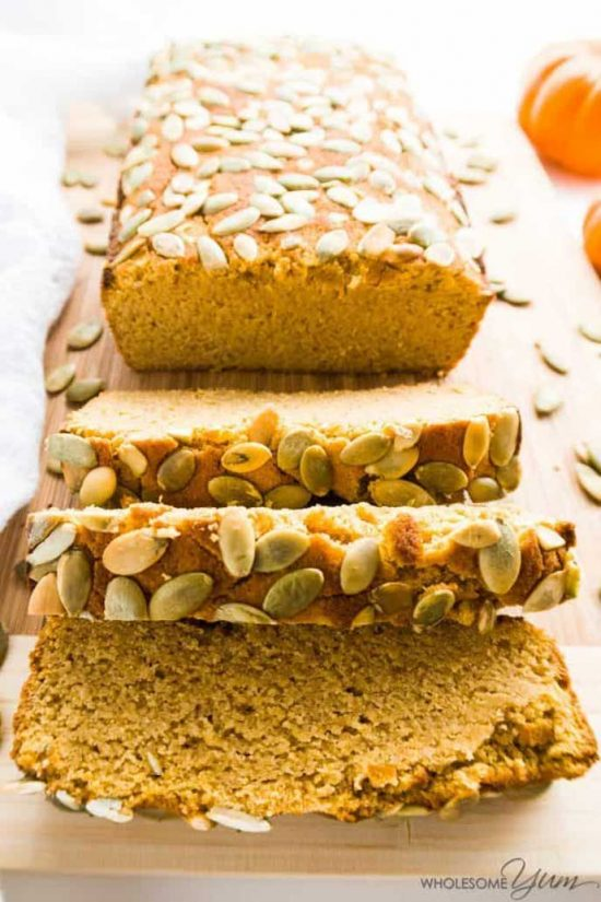 Low Carb/Paleo Pumpkin Bread by Wholesome Yum